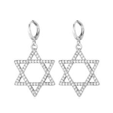 U7 Luxury Cubic Zirconia Star Of David Drop Earrings Fashion Gold / Platinum Plated Women Jewelry Perfect Gift Trendy Earring Accessories (Gold / Silver) - Intl