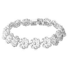 U7 Platinum Plated Romantic Flower Women Jewelry Chain Bracelet (Platinum)