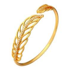 U7 Romantic Leaf Cuff Bracelet Cubic Zirconia 18K Real Gold Plated Fashion Women Jewelry Gift (Gold)