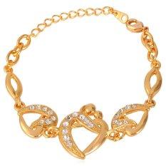 U7 Snog Lover's Heart Bracelet 18K Real Gold Plated Rhinestone Women Jewelry Romantic Figure Bracelet (Gold)