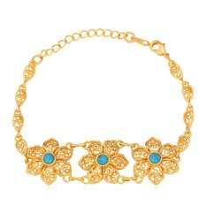 U7 Turquoise Flower Chain Bracelet For Women 18K Real Gold Plated Fashion Jewelry Gold Bracelet (Gold)