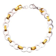 U7 Vintage G Pattern Two Tone Gold Plated 18K Real Gold Plated Stainless Steel Chain Bracelet (Intl)