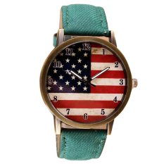 UJS American Flag Pattern Leather Band Analog Quartz Vogue Wrist Watches Green