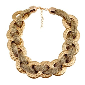 UJS Fashion Accessories Womens Fashion Cotton Rope Wrapped Around A Largold Ring Acrylic Plastic Golden Necklace