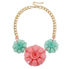 UJS Korean Version Of The Popular Jewelry Fashion Cute Candy Colored Acrylic With Larflowers Necklace Fashion Jewelry