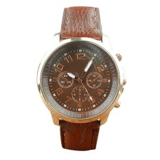 UJS Unisex Leather Band Analog Quartz Vogue Wrist Watch Watches Brown