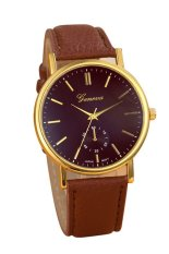 UJS Unisex Leather Band Analog Quartz Vogue WristWatch Watches Brown (Intl)