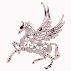 UJS Valentines Day Unique Design Silver Hollow Lively Horse Carve Crystal With Wings Brooch Lady
