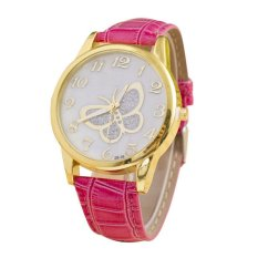 UJS Women Rhinestone Butterfly Style Leather Band Analog Quartz Wrist Watch (Pink) (Intl)