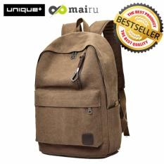 Unique Tas Ransel Laptop Backpack Kanvas Travel Unisex Korea - Coklat.