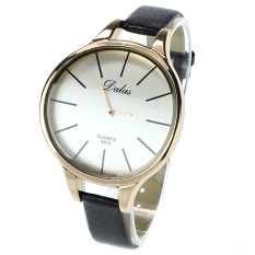Unique Vaulted White Dial Small Watchband Women Lady Wrist Watch Black