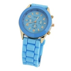 Unisex Blue Silicone Jelly Strap Watch - intl
