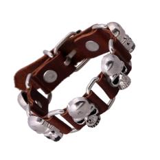 Unisex Genuine Leather Bracelet Hip-hop Punk Style Skull - Intl