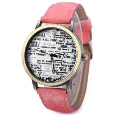 Unisex Quartz Watch Jean Fabric Canvas Band Newspaper Pattern Watch Dial