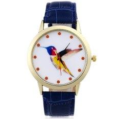 Unisex Quartz Watch Woodpecker Pattern Dial Leather Band Wristwatch (BLUE)