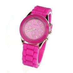Unisex Silicone Rubber Quartz Analog Sports Women Wrist Watch Hot Pink