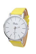 Unisex Stainless Steel Faux Leather Clock Quartz Casual Wrist Watch (Yellow) (Intl)