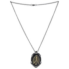 Unisex Steampunk Vintage Rib Cage Skeleton Pendant Chain Necklace Jewelry - Intl