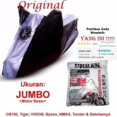 Urban Cover Motor Tipe: JUMBO - Sarung Motor - Selimut Motor - Hitam Kombinasi Silver