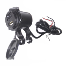 USB Charger Motor Waterproof - Cas HP di motor 2,1A Model Apple - Hitam