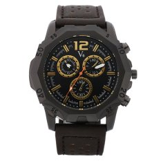 V6 Casual Men's Leather Strap Wrist Watch (Coffe + Gold) - Intl