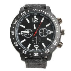 V6 Men Sport Large Round Dial Quartz Watch Black Canvas Strap Wrist Watch (Intl)