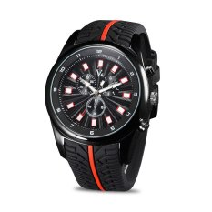 V6 Men Sport Quartz Wrist Watch Tire Style Red Line Black Silicone Band Watches - Intl