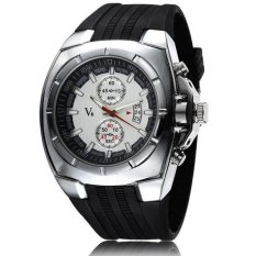 V6 Military Design Casual Watch Silver Case Black Silicone Band White