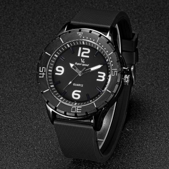 V6 Military Style Casual Quartz Watch Rubber Band Black