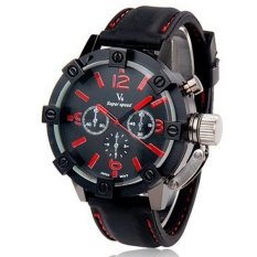 V6 Racing Design 3D Case Casual Watch Black Silicone Band Red
