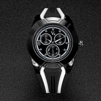 V6 Racing Style Casual Quartz Watch Rubber Band Black