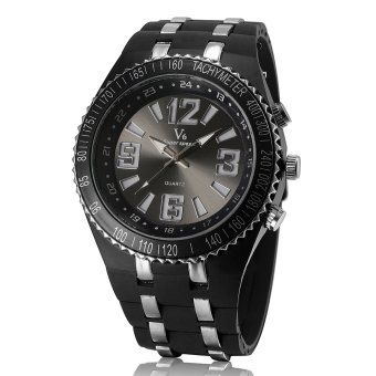 V6 Simple Design Casual Watch Wide Silicone Band Wristwatch Black