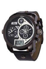 V6 Super Speed Three Time Movement Display Men's Casual Watch 5Ap713-3PQ (Black)