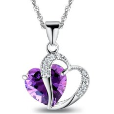 Valentine's Day For Lover Purple Crystal Heart Hollow Clear Rhinestone Heart Charm Pendant Necklace Fashion Jewelry For Women New Year Gift (Intl)