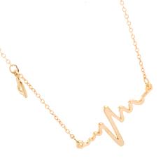 Velishy EKG Heart Beat Necklaces Charm Alloy Clavicle Valentine Gold (Intl)