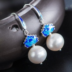 Very Thai 925 silver cloisonne craft retro women Freshwater pearlearrings bluing fashion Japan and South Korea earrings - intl