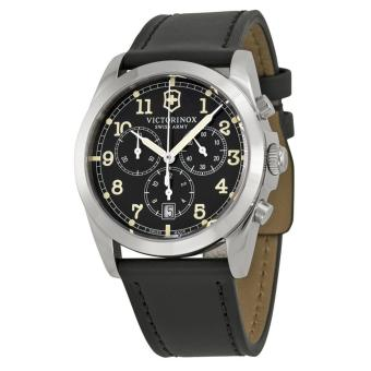 VICTORINOX SWISS ARMY 241588 Infantry - Jam Tangan Pria - Chronograph - Leather - Black - Silver