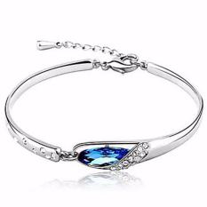 Vienna Linz Gelang Wanita Crystal Glass Slipper Bracelet Purple 925 Sterling Silver - Biru (Blue)