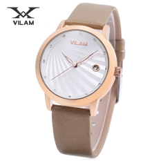 VILAM V1036L - 01G Female Quartz Watch Artificial Diamond Dial Date Display Imported Movt Wristwatch (Brown)
