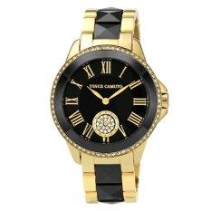 Vince Camuto Women's VC / 5046BKGB Round Swarovski Crystal Accented Gold-Tone Black Ceramic Bracelet Watch - Intl
