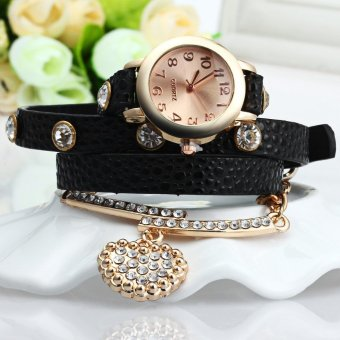 Vintage Leopard Leather Wrap Bracelet Wrist Women Watch With Heart Pendant Rhinestone (Black)