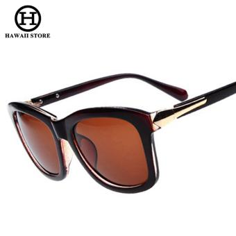 Vintage Oval Lens Plastic UV400 Elegant Women's Polarized Sun Glasses Outdoor Driving Brand Sunglasses (Black)