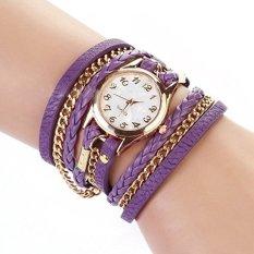 Vintage PU Leahter Weave Strap Women Analog Bracelet Watch