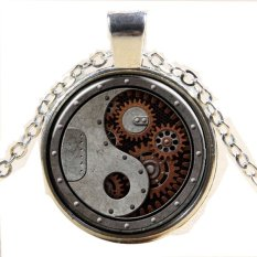Vintage Steampunk 3D Gear Pendant Sweater Chain Necklace Jewelry For Women (Silver) (Intl)