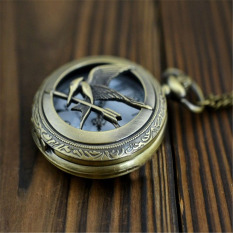 Vintage Steampunk Retro Bronze Birds Unisex Quartz Chain Fob Pocket Watch (Golden)
