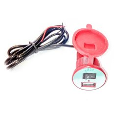 Virgo Racing USB Charger Motor Waterproof- Cas HP di motor - Merah