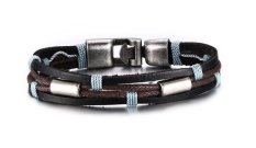 VNOX Jewelry Braided Rope Leather Bracelet For Men (Black Brown)
