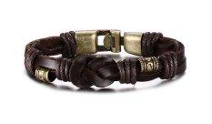 Vnox Jewelry Mens Braided Rope Leather Bracelet (Brown)