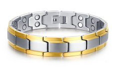 VNOX JEWELRY Mens Stainless Steel Healthy Magnet Therapy Bracelet With Free Link Removal Tool, Gold Edge - Intl