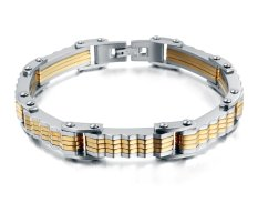 """Vnox Jewelry Mens Trendy Stainless Steel Bicycle Gear Link Bracelet Bangle, Gold Silver, 8.6"""""""